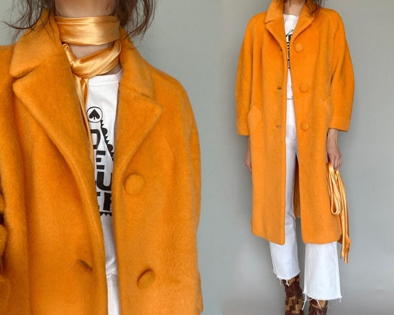 1960s Lilli Ann Tangerine Wool Coat Jacket | s - m