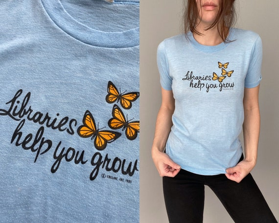 """1970s 80s """"Libraries Help You Grow"""" Butterfly TEE"""