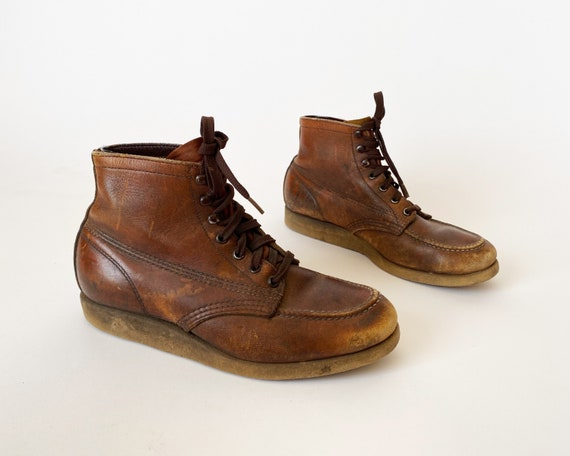 1960s 70s Moc Toe Ankle Boots - Crepe Sole Work Bo