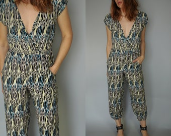 1980s Low V Neck Jumpsuit Onesie | Psychedelic Pattern Blue Yellow Black | by Angie | Playsuit Romper Jumpsuit Coveralls | Small