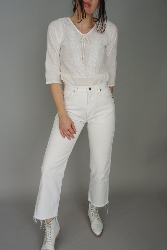 1960s Cotton Eyelet Top | xs