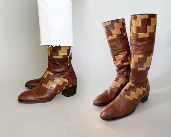 1960s 70s Patchwork Boots - Harbor Imports | size