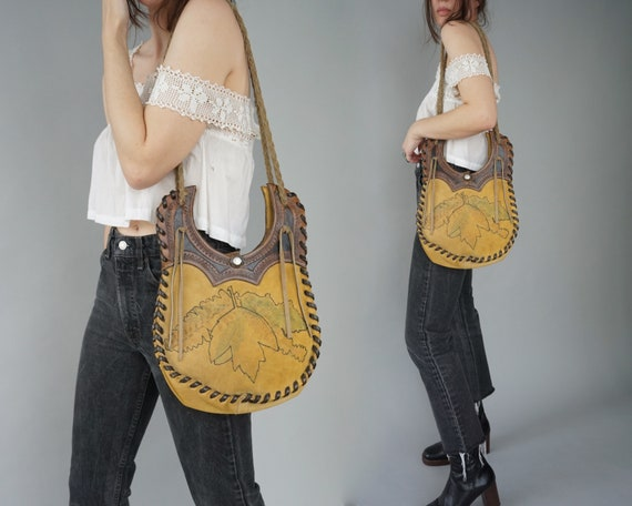 1960s Tooled Leather Purse - Yellow Leather Leaves