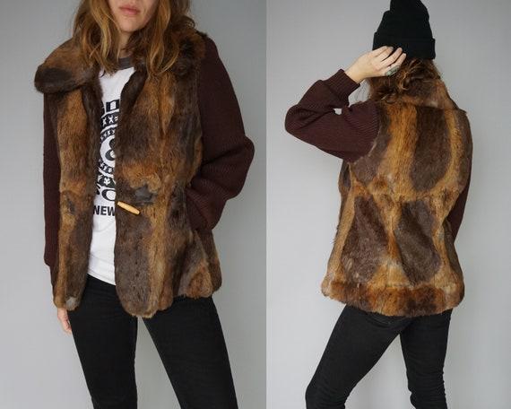 Boho Brown 1970s Shaggy Chunky Coat Small Cardigan Jacket Gold 70s Coat 80s Sweater Jacket Rabbit Cardigan Sweater Knit 70s Fur Gray 7adrzx7w