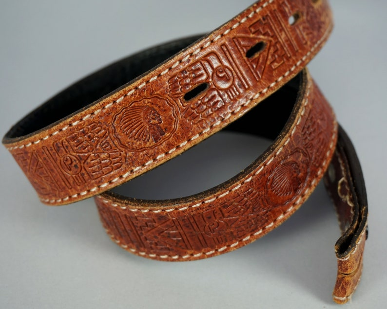 4ba663ec7e75f7 Vintage Tooled Leather Belt Native Thunderbird Aztec Buffalo
