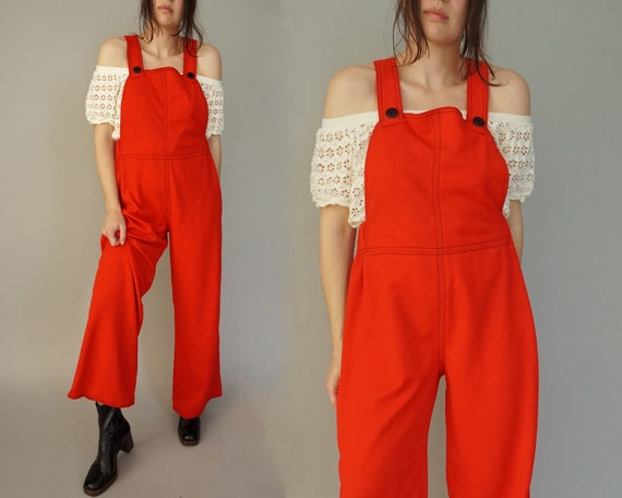 1970s Red Jumpsuit Overalls
