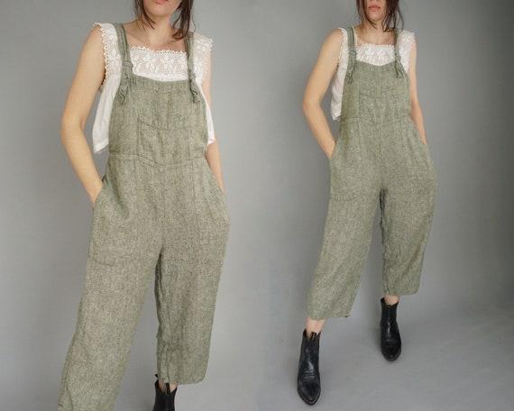 Vintage Linen Jumpsuit Overalls | S