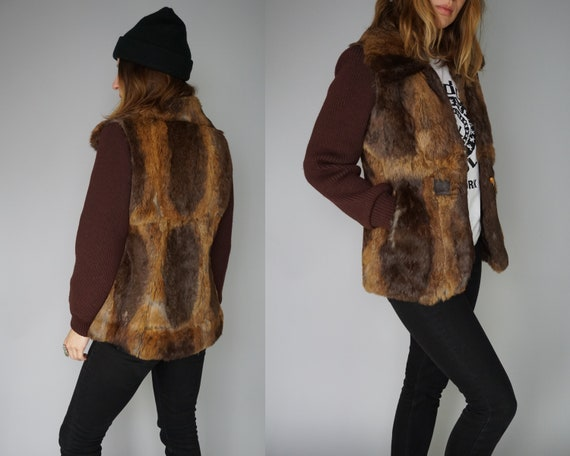 Small Knit 70s Coat Jacket 80s Jacket Rabbit Chunky Sweater Gold Boho Shaggy 1970s Fur Cardigan Cardigan Coat 70s Gray Sweater Brown R4ZqWUF5x