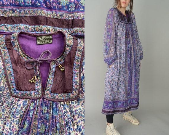 1970s Indian Cotton Gauze Dress - Vida Imports Inc