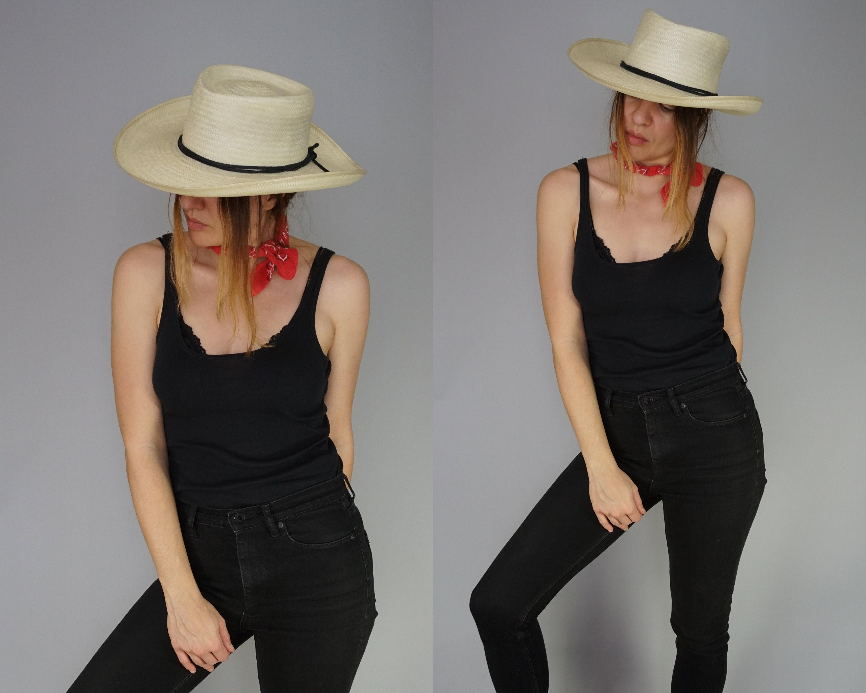 6dd1ed7ac8e Vintage Woven Panama Fedora Wide Brim Hat Beach Hat Summer