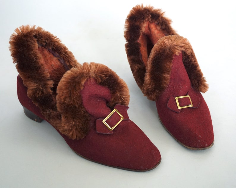 688c4abba7410 1930s Boudoir Booties | Antique Felted Wool + Faux Fur Slipper Shoes Ankle  Boots | 20s 30s Shoes Slip-On Shoes | Maroon Brown Gold | W 7