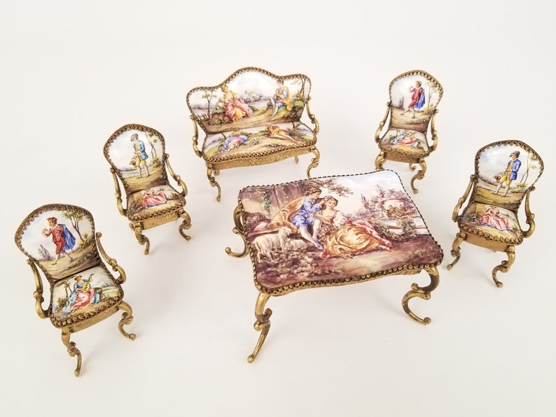Antique Austrian Viennese Enamel Miniature Furniture *Musical* Set 6 Pieces  Made for Royals