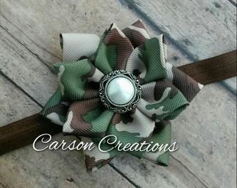 Camo headband, Camo flower, flower pin accessory, camo hair clip, camo bow, Military