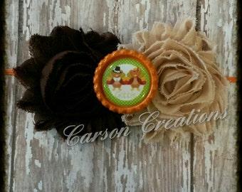 Thanksgiving headband/ Turkey bow headband or clip/ Fall headband/ Gobble bottlecap/ Brown/ baby headband/  and orange