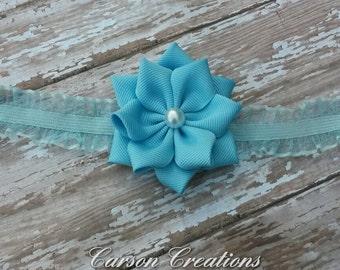 Light blue flower headband, blue lace ruffle headband, pearl, baby headband, toddler headband, photoprop, blue headband, new baby