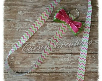 Bow holder, Pink and green chevron bow holder/ Bow holder/ Hair bow holder/ Bow organizer/ wall hanging/ chevron/ bow