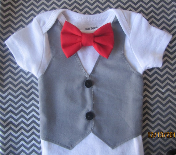 c352289af Grey vest onsie for boy Baby grey vest outfit boy red bow