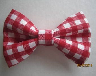 Red white gingham bow tie, Men's white red gingham bow tie, Boy red white bow tie, gingham bow tie, Adjuster bow tie, clip on bow tie