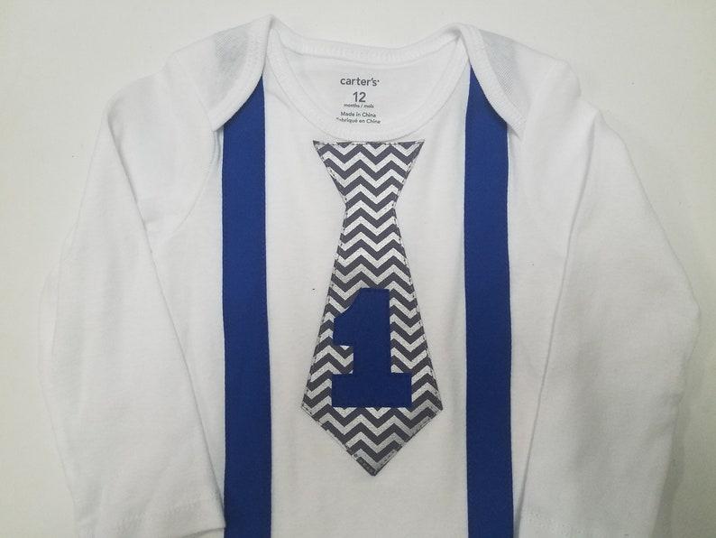Boy First Birthday Outfit Blue Suspender