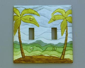 Palm Tree Island - Light Switch Cover, Tree Painted with Alcohol Ink