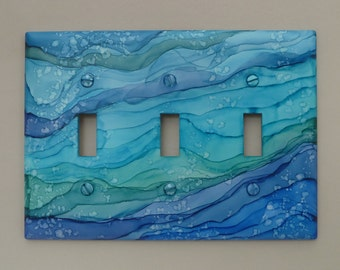 Blue Ocean Waves - Light Switch Covers, Painted with Alcohol Ink