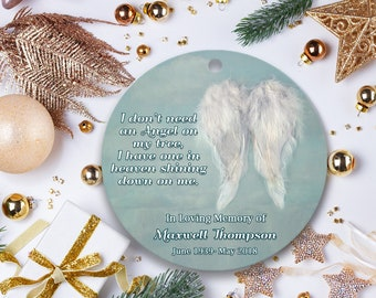 christmas in heaven in memory of ornament custom remembrance ornament in memory of mom dad or loved one large 4 glass ornament