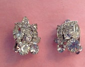 Beautiful WEISS earring clips clear rhinestone round and navette details