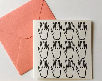 Tiny Card Set of 8! Hands Illustration. Gift Tag / Little Card.