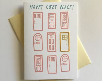 Happy Cozy Place. Hand Stitched Greeting Card. Miss You / Welcome Home Card.