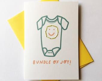 Baby/Pregnant Card. Bundle of Joy! Onesie Illustration / Hand Stitched.