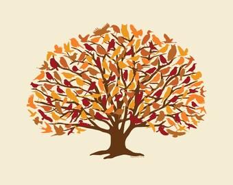 Autumn Oak Woodland Birds Wall Decor Art Print 11x14