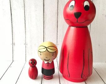 Clifford peg doll set