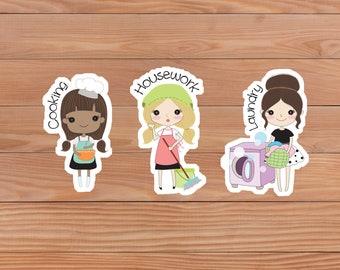 Housework planner stickers - Cute Girl - Happy Planner - Personal Planner - Mini Happy Planner - Diary - Travellers Notebook etc