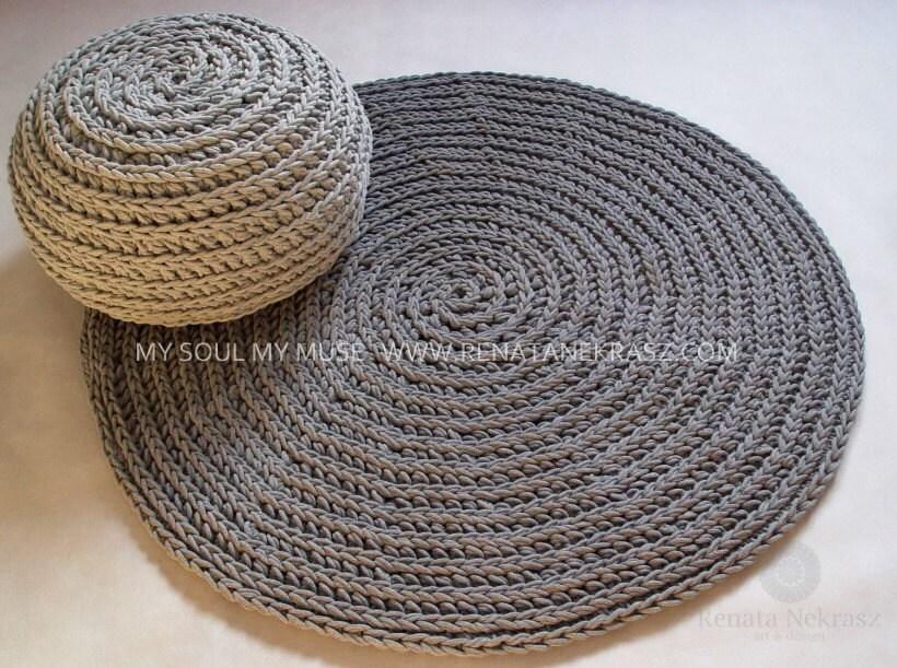 grau baumwollkordel runder teppich h keln teppich h keln. Black Bedroom Furniture Sets. Home Design Ideas