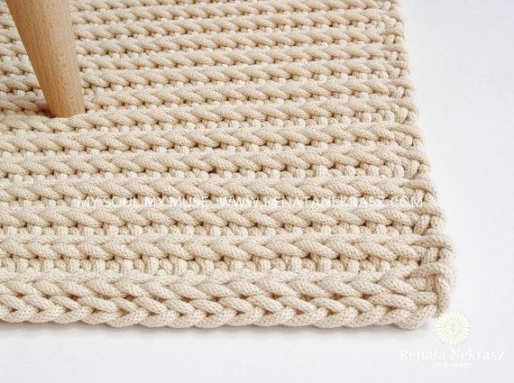 Ecri Cotton Cord Rectangular Rug Crochet Rug Crochet Etsy
