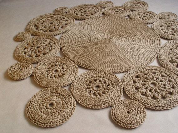 Beige Baumwollschnur Runder Teppich Teppich Häkeln Häkeln Etsy