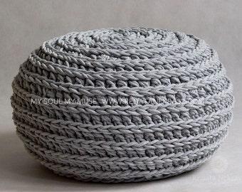 Crochet pouf, crochet footstool, round pouf, knitting pouf, knitted footstool, ottoman, footstool, table, living room, decor model 012