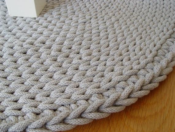 Grau Baumwollkordel Runder Teppich Gehäkelter Teppich Etsy