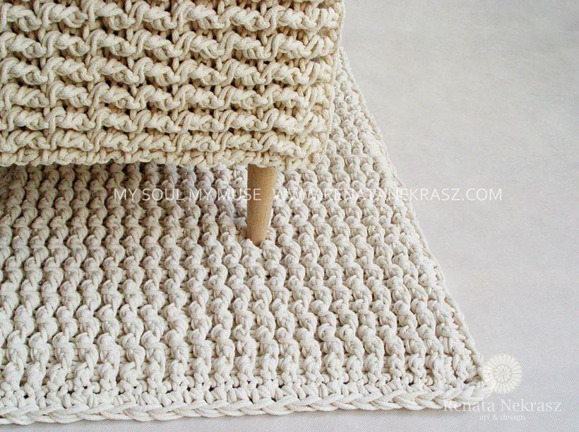 ecri cordon en coton tapis rectangulaire tapis au crochet etsy. Black Bedroom Furniture Sets. Home Design Ideas