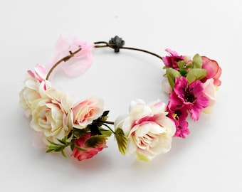 Fancy flower baby girl's pink floral crown for wedding or christening