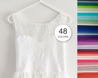 "Flower girl dress ""Roselle"", V-neck dress and satin sash, Wedding junior bridesmaid dress, Lace dress, 48 colors Size 15-16"