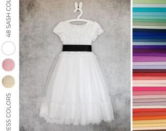 888c10ea1 Flower girl dress, Wedding Junior Bridesmaid, Communion Baptism Lace Tulle  Children Toddler Dress, MADELINE white, cream, pink