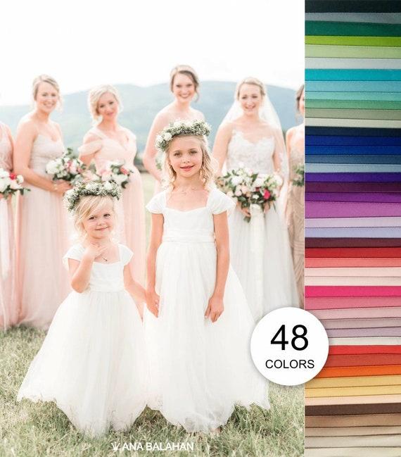 Flower girl dress, Communion Floor full length, Classic toddler junior outfit, Bat Mitzvah Baptism Ivory White, ANNABELLE 48 sash colors