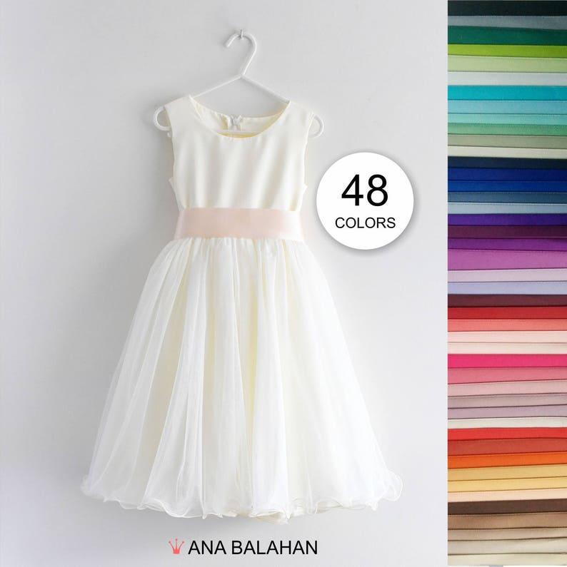 5b39774fc03 Flower girl dress Wedding Junior Bridesmaid Communion