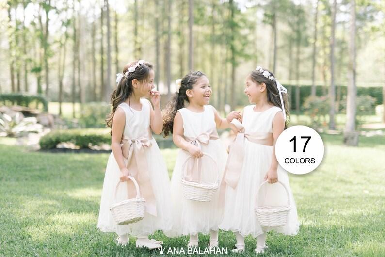 Flower girl dress Baptism Toddler Kids Girl Satin Tulle Dress image 0