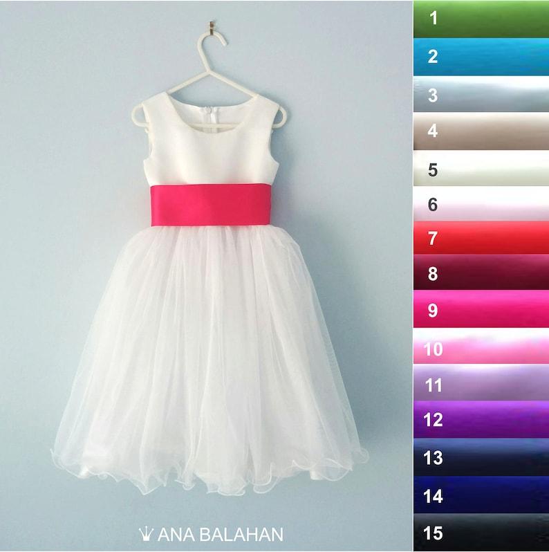 4fe76bc38738b Flower girl dress - WHITE, Wedding Junior Bridesmaid, Easter First  Communion For Children Toddler Kids Teen Girls, ADELINA, 17 sash colors