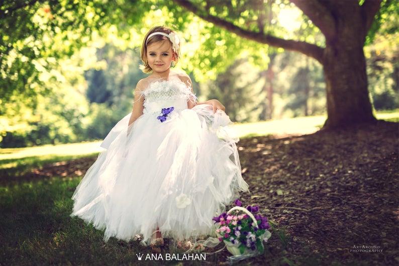 0cc7dcc93 Flower girl dress WHITE Vintage flower girl tutu dress Fairy | Etsy