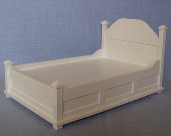 Double Bed for 12 inch doll / 1:6 scale bed/  modern bed/ barbie size furniture