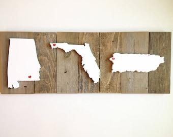 Map Of Alabama And Florida.Wooden Florida Map Etsy