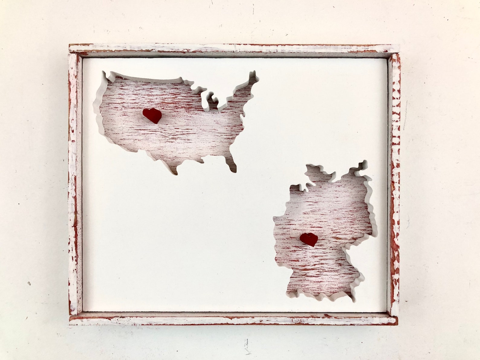 USA and Germany Map Cutouts (Choose Any 2 Maps) with Personalized City Hearts- Personalized Gift, Customized Gift